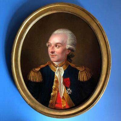Oval Portrait Of A Handsome Military Man: General Officer, Louis XVI Period, Circa 1780