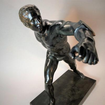 Naked Man Sculpture In The Antique Style: Borghese Gladiator Bronze Of The Grand Tour, Louvre Edition