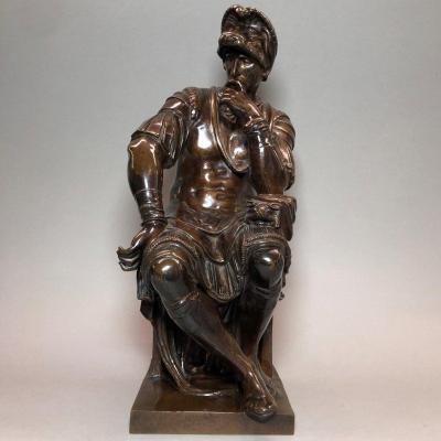 Bronze Lorenzo De Médicis After Michel-ange, Barbedienne Edition, 19th Century