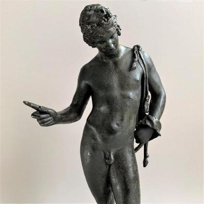 Bronze From The Grand Tour After The Antique, Young Ephebe Naked Representing Narcissus.