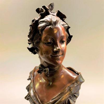Georges Van Der Straeten: Bronze Marinette Of An Art-nouveau Woman