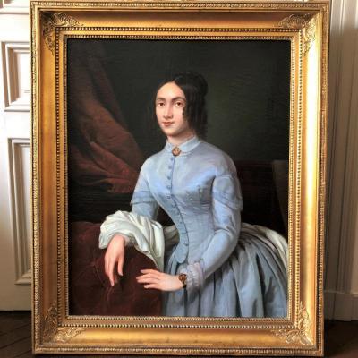 École française: Jolie jeune femme romantique dans son intérieur, époque Louis-Philippe