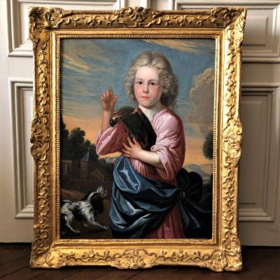 École Française d'époque Louis XIV, Tableau allégorique ''Enfant  perroquet et chien''