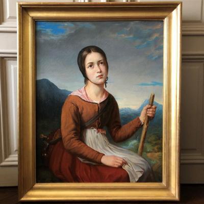 French School: Lovely Romantic Portrait `` La Pastourelle d'Auvergne '', Circa 1840
