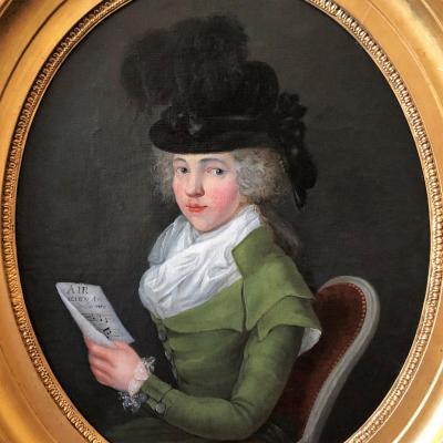 Très joli portrait d'une femme à la partition de musique, d'époque Louis XVI