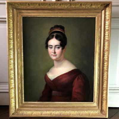 Exceptionnel portrait d\'une jeune femme au diadème, époque empire