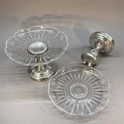 Christofle And Baccarat: Pair Of Silvered Bronze And Crystal Cups, 19th Century