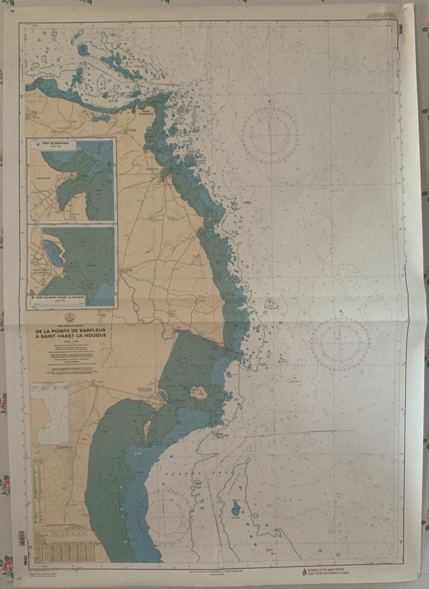 Carte Marine.  Côte  Nord  De  France  De Barfleur  à St Vaast La Hougue