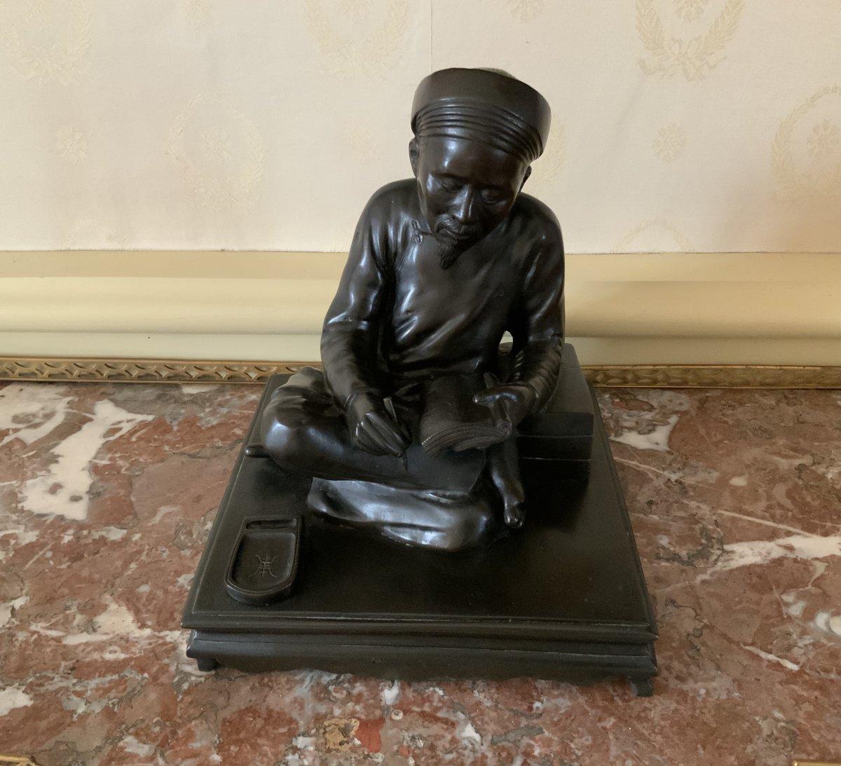 Bronze  Lettré  à  L'écriture . Époque  Meiji ( 1868- 1912 )