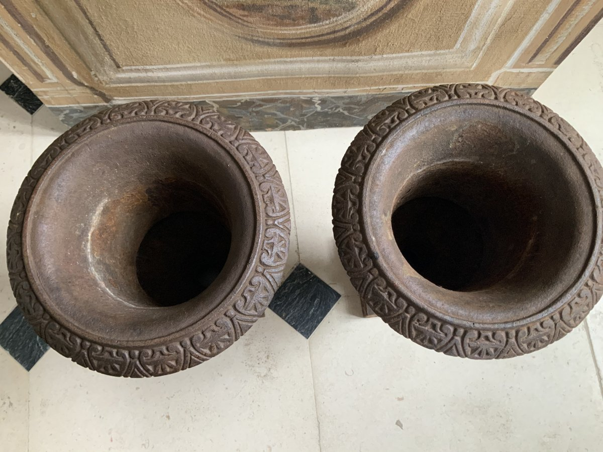 Paire  De  Vases Médicis  En  Fonte (xixe)-photo-3