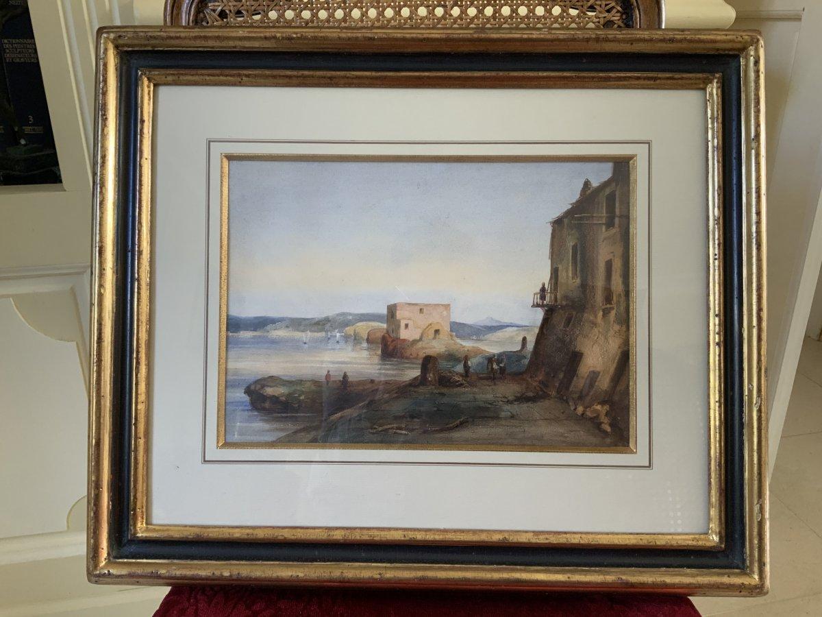 Neapolitan Gouache Attributed To Gabriele Carelli (1820-1900)