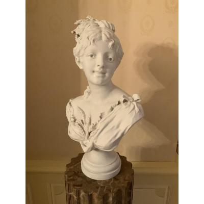«jeune  Fille Aux épis De Blé  «buste Par Baury