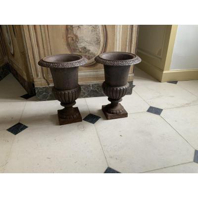 Pair Of Medici Vases In Cast Iron (19th)