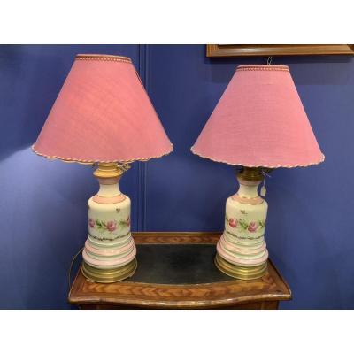 Grande  Paire  De Lampes  En  Porcelaine , XIXe