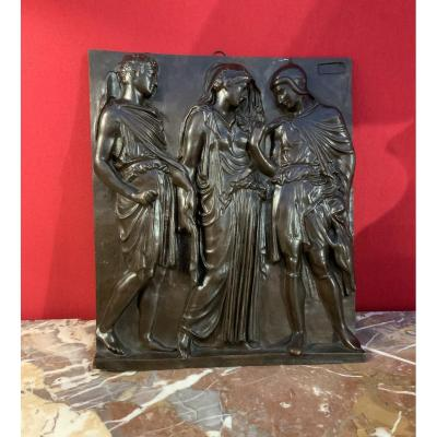 Bas  Relief  En  Bronze  Signé Barbedienne ( 1810- 1892 )
