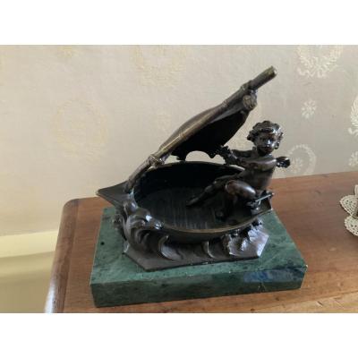 """Bronze, Auguste Moreau """"cherub In A Boat"""""""