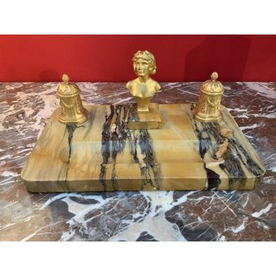 Grand Encrier En Marbre Et Bronze Doré