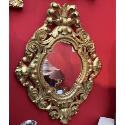 Miroir En Bois Doré.  Italie XVIIIe