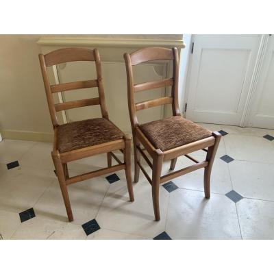 Paire De Chaises Restauration En Merisier