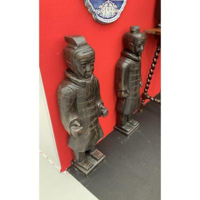 Paire  De  Statues, Deux  Soldats  De  L'armée  De   XI'an  En  Basanite