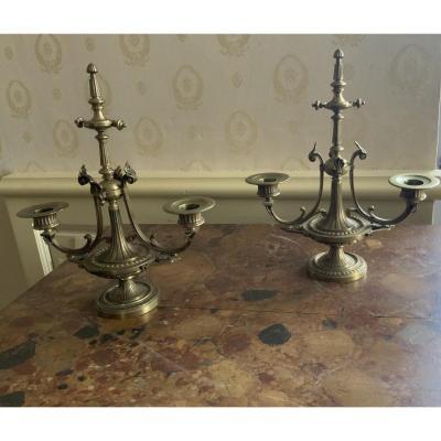 Paire  De  Chandeliers,  Candélabres  En Bronze, Style Directoire