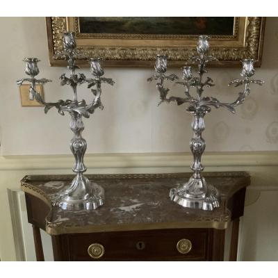 Pair Of Large Rocailles Candelabra With 4 Lights