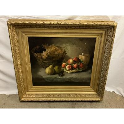 Brunel De Neuville, (1852-1941) Still Life With Fruits