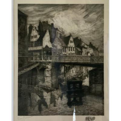 Le Vieux Canal De Gand ,  Eau Forte Originale Signée Pierre Paul Boissard