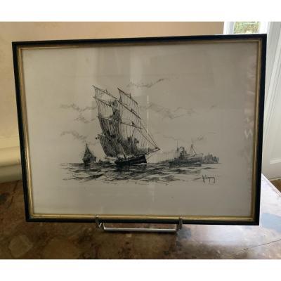 Lemirre Louis Henry.  Lithographie  De  Marine
