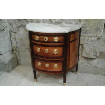 Half Moon Commode, Lxvi Period In Veneered Walnut And Mahogany