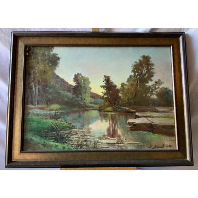 Landscape At The River (1893) Signed Baptiste Brunel 1844- 1929