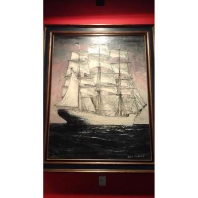 Grande Marine,  «le  Trois Mats « Signée  A Fournier