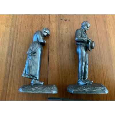 L'angélus.  D'après Jf Millet . Paire De Statuettes En Régule