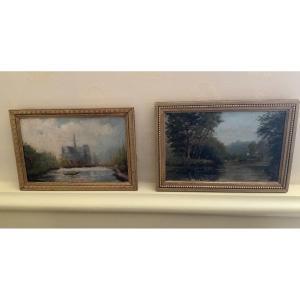 La Cathédrale D'amiens Et Milly Sur Seine,  2 Petites Huiles  Impressionnistes Sur Panneau