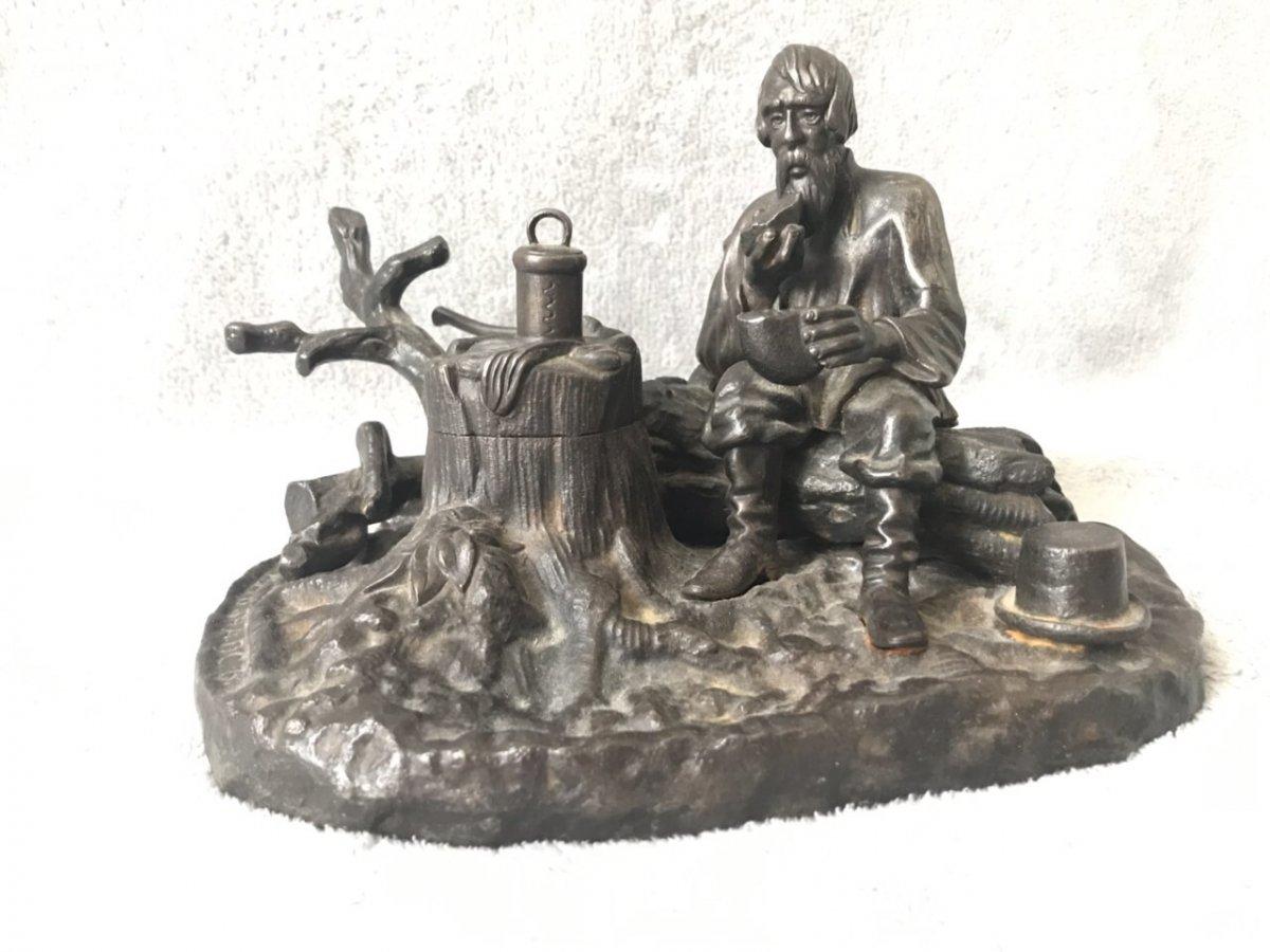 « Halte Forestière » Encrier En Fonte Kasli, Russie XIXe Siècle