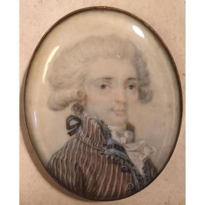 Portrait d'Homme De Qualité, époque Fin XVIIIe Siècle, Miniature