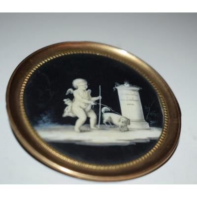 Piat-joseph Sauvage (1744-1818) Attrib. Miniature En Grisaille