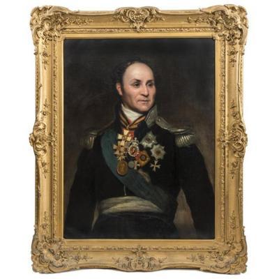 Ecole Russe: Important Portrait d'Ataman Matvei Ivanovich Platov (1753 - 1818)