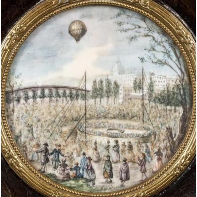 Miniature : L'Envol d'Une Montgolfière Le Flesselles, Le 19 Janvier 1784