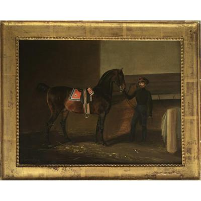 Cheval Et Son Palefrenier Dans Les écuries Impériales Russes, époque Nicolas I