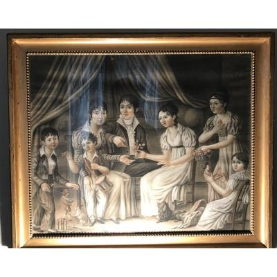 Family Portrait, Empire Period, Drawing