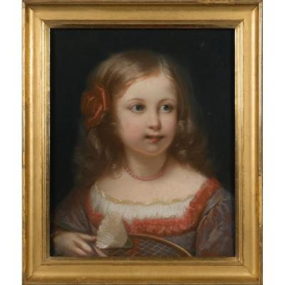 Portrait Of A Little Girl, Pastels, Constant Joseph Brochart