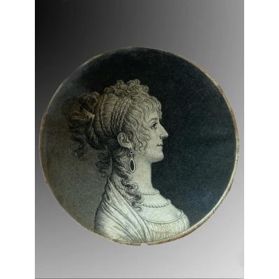 Miniature Portrait d'Une Jeune Femme Au Physionotrace, Gilles-louis Chrétien
