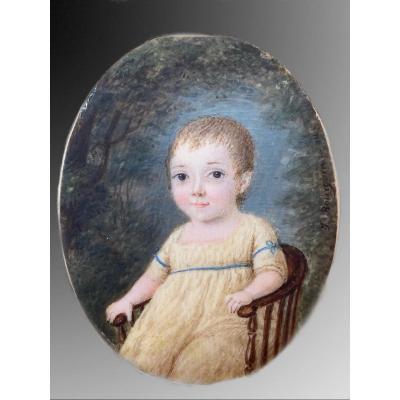François-jules Bourgoin (act.1796-1812) Portrait d'Un Petit Enfant, Miniature