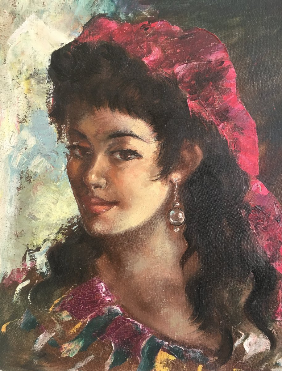 Oil On Canvas Portrait Of Gypsy
