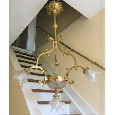 Chandelier In Bronze And Paste Glass Napoleon III