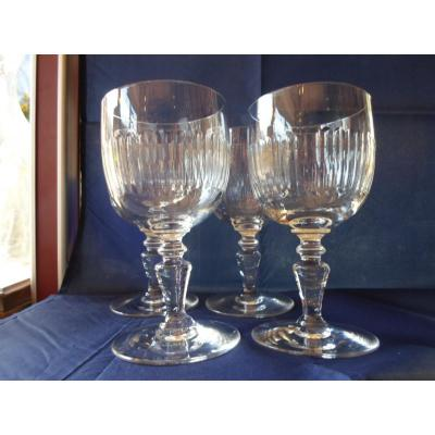4 Baccarat Renaissance Water Glasses, Stamped XXth
