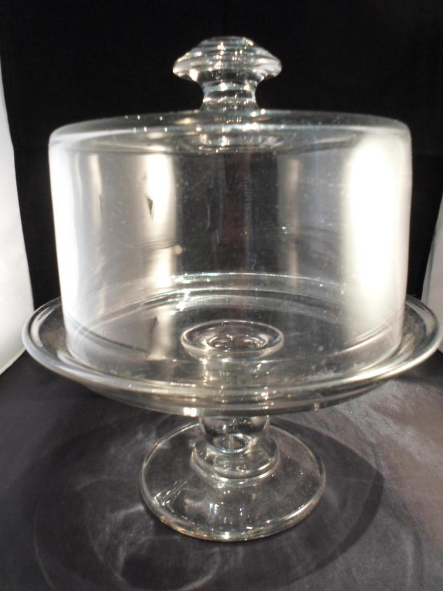 Cloche à Gateau XIXème Cristal Sur plat piedouche