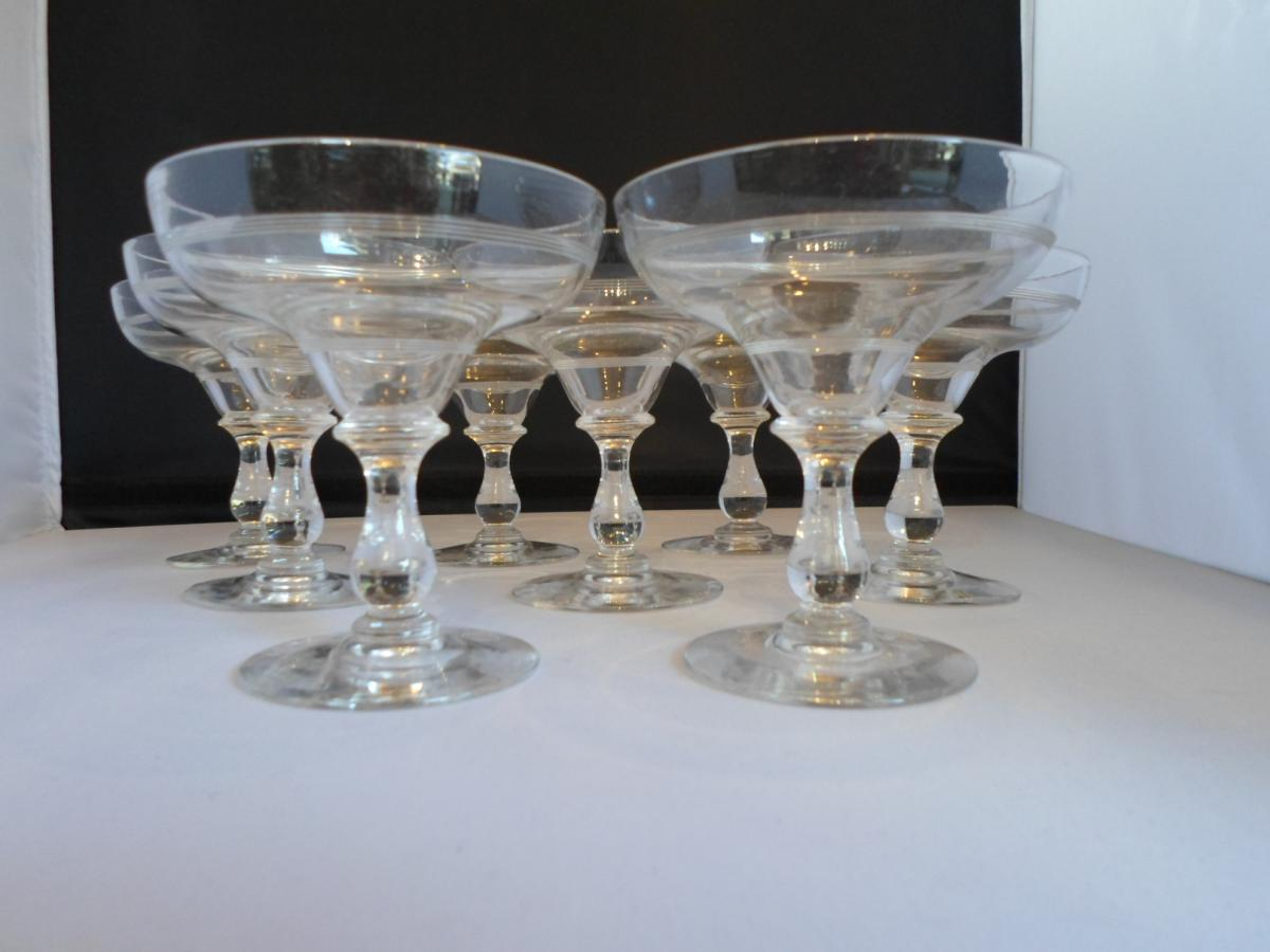 8 coupes champagne cristal xix me verres vin services verres anciens. Black Bedroom Furniture Sets. Home Design Ideas