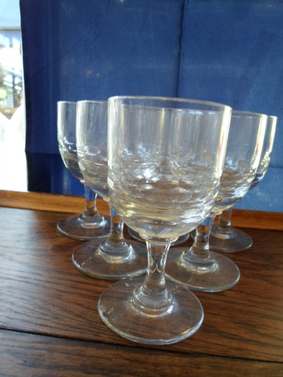 6 Bistro Glasses Cut In The Early 20th Century